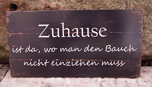 MDF Schild Holzoptik -Zuhause ist da, wo man-40x20cm mit Spruch Wandschmuck Indoorschild Geschenk