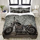 ALLMILL Bedding Juego de Funda de Edredón,Moto clásica Harley Cool Davidson Vintage Bike Chopper,Microfibra Funda de Nórdico y Fundas de Almohada - 200 x 200cm