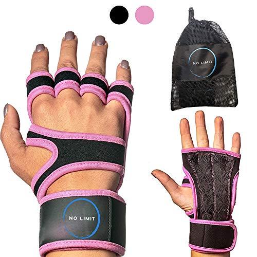 NoLimit® Fitness Handschuhe Trainingshandschuhe Sporthandschuhe Crossfit Handschuhe für Damen und Herren (Schwarz/Rosa) mit Handgelenkschutz, Handflächen-Schutz und Silikon-Grip für Dein Workout