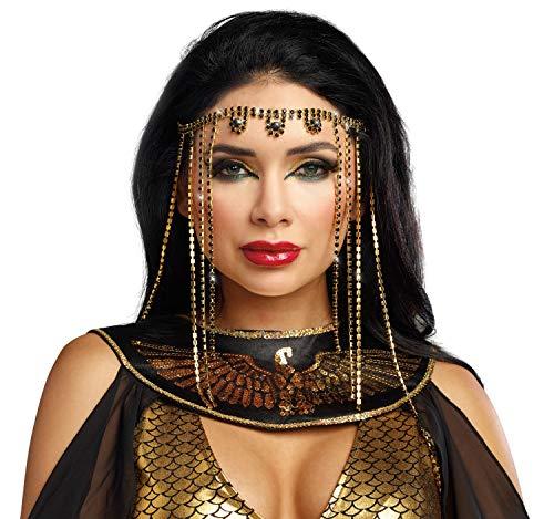 Aphrodite Zubehör Kostüm - Dreamgirl Orientalische Stirnbandkette Gold/schwarz Ägypterin Indien Bollywood Tanzkostüm Fasching