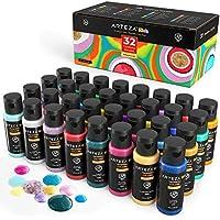 ARTEZA KIDS Pinturas témperas para niños | Caja de 32 botes de 60 ml | Pintura lavable para carteles y manualidades | Para pintar con esponja o con los dedos | Incluye neón, purpurina y fosforescente