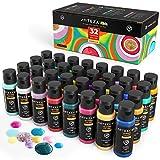 ARTEZA Tempere Lavabili per Bambini, Set da 32 Colori in Bottiglie da 60 ml con Inclusi Neon, Glitter e Visibili al Buio, per Pittura Poster per Progetti Artigianali, Dipingere a Spugna e con le Dita