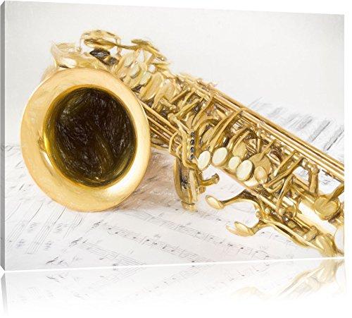 Saxophon auf Notenpapier Bunstift Effekt, Format: 60x40 auf Leinwand, XXL riesige Bilder fertig gerahmt mit Keilrahmen, Kunstdruck auf Wandbild mit Rahmen, günstiger als Gemälde oder Ölbild, kein Poster oder Plakat