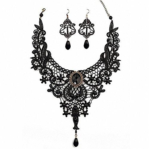 (Amupper Black Lace Halskette Ohrringe Set - Gothic Lolita Anhänger Choker Kleidung Zubehör für Hochzeit Geburtstag Owen Weihnachten Custume)
