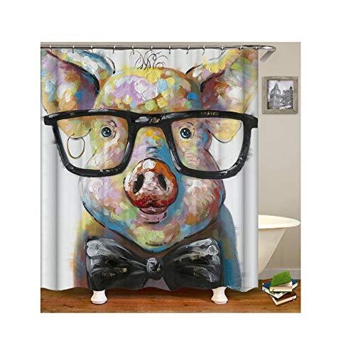 KnSam Duschvorhang Anti-Schimmel Wasserdicht Vorhänge An Badewanne Bad Vorhang für Badezimmer Nettes Schwein Mit Brille 100% Polyester inkl. 12 Duschvorhangringen 90X180cm