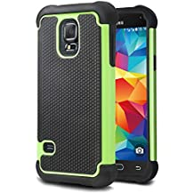tinxi® Funda de silicona para Samsung Galaxy S5 mini la cubierta protectora con el verde y negro fondo