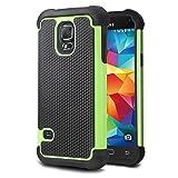 tinxi® Custodia Antiscivolo, doppia protezione case in silicone per Samsung Galaxy S5 Mini case cover protettivo concezione speciale in verde e nero