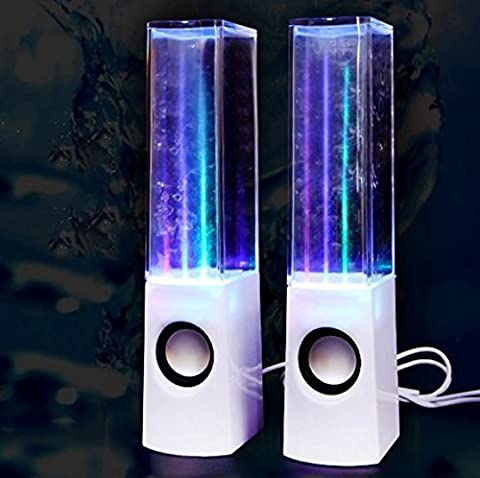 LED WATER DANCING USB SPEAKERS PC/Mac/MP3 Players/Mobile Phones/Tablets (White 1)