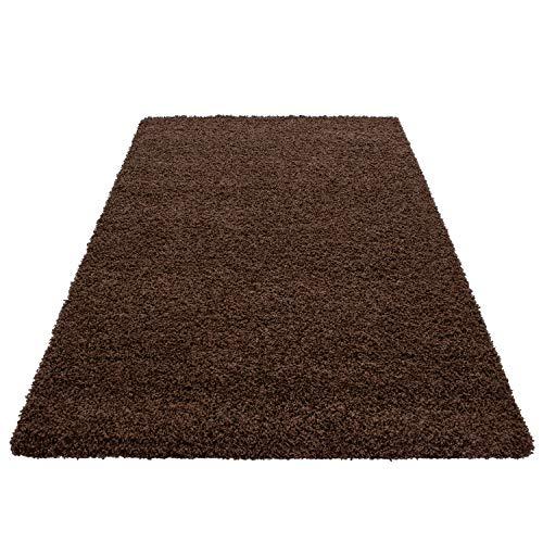 Hochflor Shaggy Teppich Wohnzimmer 3 cm Florhöhe einfarbig Teppiche mit OKOTEX, Maße:60 cm x 110 cm, Farbe:Braun (Braun Teppich)