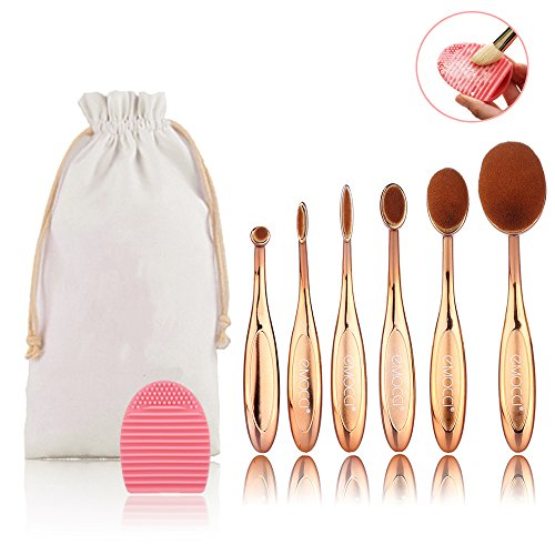 Pinceaux Maquillage Make Up Brush 6 Pcs Ovale Brosse à Maquillage Cosmétique Brush Beauté Make Up Pinceaux Pour les Poudres Anticernes Contours Fond de Teints Kit Rose