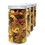 D' Luxy Pack 4 Bocaux en Polyéthylène Alimentaire, 1,5 L (20x10 cm), avec Couvercle...