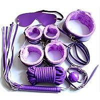 7Pcs Fetish Under Cama Cuero Peludo Kit De Sujeción S & M Juguetes Eróticos Con Correas De Muñeca Colección De Bondage De Tobillo A Macho Hembra Pareja Coquetear Negro,Purple