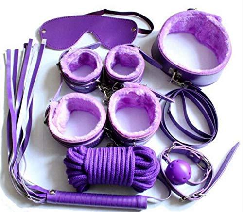 7Pcs Fetisch Unter Bett Furry Leder Rück Halte Set S & M Toys Erotik Mit Handgelenks Stützen Knöchel Bondage Kollektion Zu Männlichen Weiblichen Paar Flirten Schwarz,Purple -