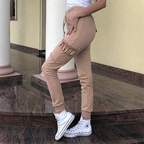 Swallowuk Damen Hosen Freizeit Slim Fit Stretch Hose Einfarbig Sweathose Sweatpants Relaxhose (XL, Khaki)
