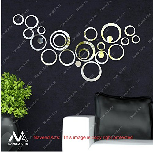 Naveed Arts - 3D Acrylic Mirror Wall Décor stickers for home & Office - Silver, 12 Ring + 3 Free Rings Diwali Gift - JB062S2SM - Naveed Arts Factory Outlet, Premium Quality