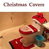 TAOtTAO Christmas Decoration 3ST Fancy Santa Toilettensitzbezug und Teppich Badezimmer Set Weihnachtsdekor