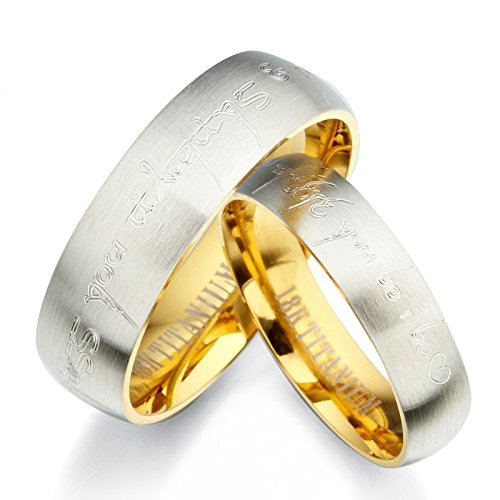 Gemini Personalized Elvish His & Her Couple Two Tone 18K Yellow Gold & Silver Brush & Polish Titanium Wedding Ring Set, UK Size H to Z6