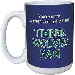 Tree-Free Greetings lm44156Timberwolves baloncesto ventilador taza de cerámica con mango de tamaño completo, 15-ounce