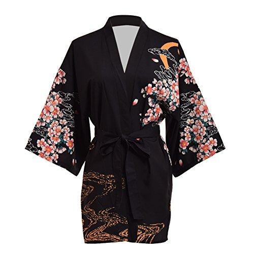 GRACEART Sakura Yukata Haori Bademantel Aufdecken Nachthemd Yukata (schwarz) -