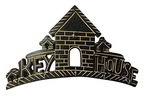 Geschenk für Weihnachten oder Geburtstag an Ihre Lieben 6 Key Hook, Wooden Key Holder with Brass and Decorative Design Key Hanger Home Shaped