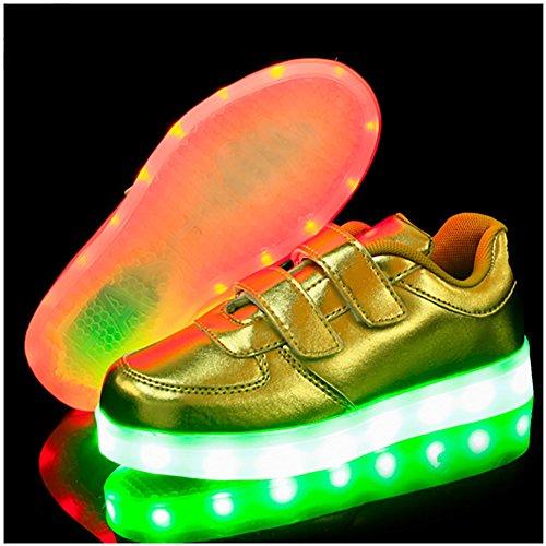 Free Fisher Jungen/Mädchen LED Leuchtend Sportschuhe Sneaker Turnschuhe Gold