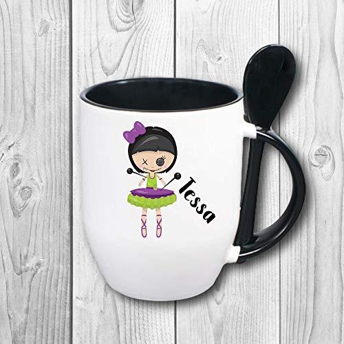 Löffeltasse weiß-schwarz mit Wunschname - Design: Voodoo Doll 2