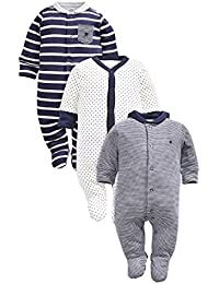 next Bebés Niños Paquete De 3 Pijamas Peleles A Rayas Azul Marino De Algodón (0 Meses-2 Años)