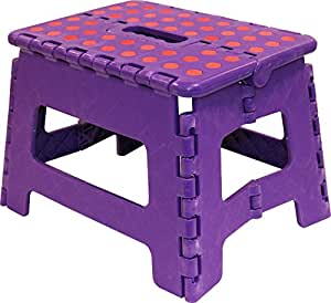tr24 violet tabouret marche pied tabouret marchepied pliant 2 niveaux escabeau pliant b 150 kg. Black Bedroom Furniture Sets. Home Design Ideas