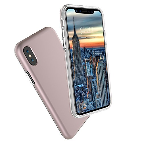 EKINHUI Case Cover Ultra Thin Lightweight Dual Layer 2 in 1 PC und TPU Schutzhülle für iPhone X ( Color : Black ) Rosegold