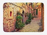 EJjheadband Wanderlust Bath Mat, Ancient Street in Valldemossa Village Mallorca Spain Vintage Door Road, Plush Bathroom Decor Mat with Non Slip Backing, 23.6 x 15.7 Inches, Amber Orange Green