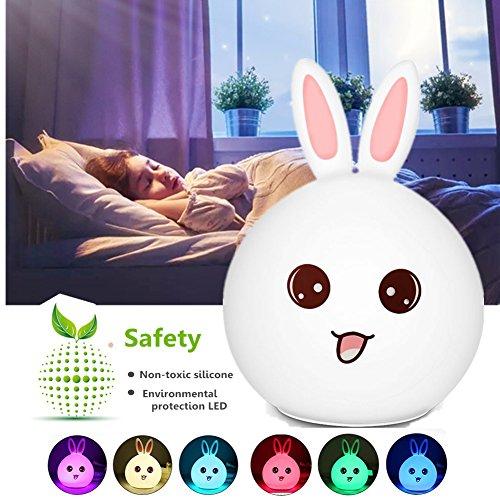 Infantil Luz nocturna Silicón, Chickwin Coniglio Sveglio Encantador USB Dibujos Sensor Táctil Rechargeable para Mesita de Noche Habitación Bebé Decoración de ambiente Romántico Regalos Creativos Pascua (Conejo rojo)