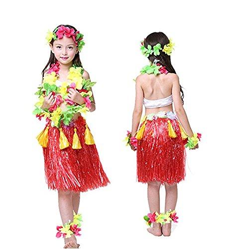 8pcs-Hawaiano-Hula-Vestido-Falda-de-Hierba-para-Ninas-Guirnaldas-de-flores-Accesorios-de-playa-Danza-Costume-Disfraces-Rojo