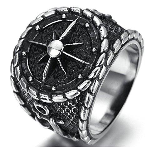 SanJiu Schmuck Herren Ringe Edelstahl Ring Retro Gotik Biker Punk Klassisch Ring für Herren Silber Schwarz Größe 65 (20.7) (Hosen Männer Freimaurer)