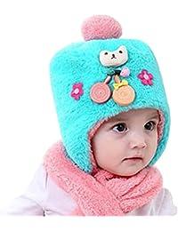 9cbe497b32b Bonnet hiver pour Bébé Chapeaux bebe Set de 2 pièces Ensemble Echarpe  Sunroyal Calotte Chapeau Bébé Fille Garçon Enfants Bébé…