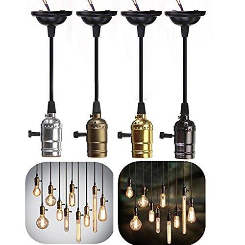 4X GreenSun E27 Douille Edison Lustre Suspensions Vintage Antique Rétro Adaptateur de Lampe 110-220V Douilles Set Avec Interrupteur et Câble 1M
