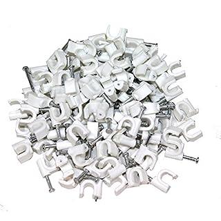 Aerzetix: 100 x Kabelklemme 6mm Befestigungs mit Nagel Kabelschellen