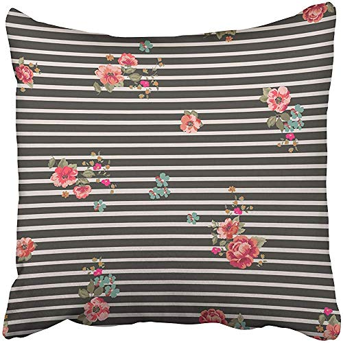 gthytjhv Wurfkissenbezugs 18 x 18 Inches Colorful Striped Romantic Ditsy Floral in Pink Hand Drawn Poppy Beauty Bouquet Pillow Case Decorative Cushion Cover Two Sides Print Pillowcase -