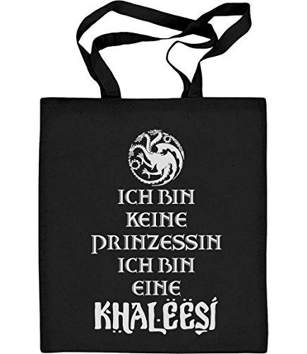 ich-bin-keine-prinzessin-eine-khaleesi-fanartikel-jutebeutel-baumwolltasche-one-size-schwarz