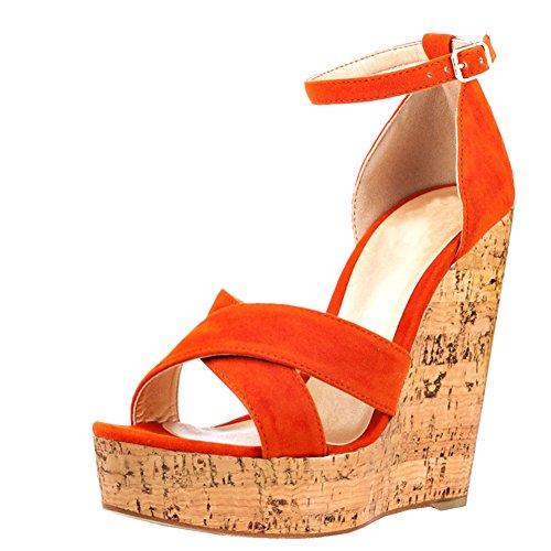 MERUMOTE Damen Y-186 Holz Plattform High Heels Ankle Strap Cuff Plateau Hoher Keil-Sandalen Orange