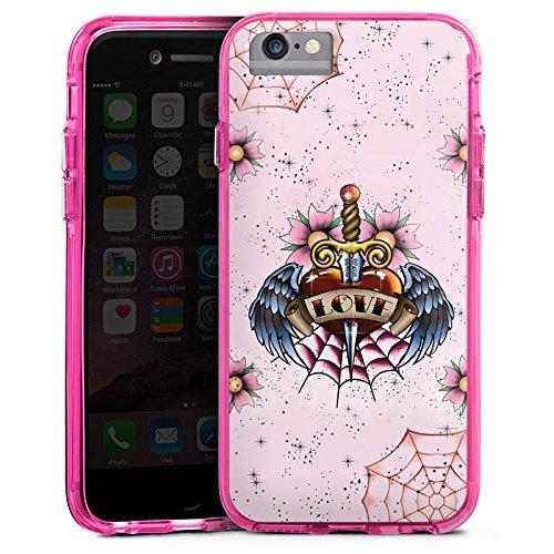 Apple iPhone X Bumper Hülle Bumper Case Glitzer Hülle Heart Herz Schwert Bumper Case transparent pink