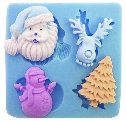Stampo in silicone con calchi di accessori natalizi quali babbo natale, renna, albero natalizio, pupazzo di neve. per pasta di zucchero, fondenti, etc per uso alimentare fai da te diy.cat: alberi di natale, pupazzi di neve, renne, santa claus