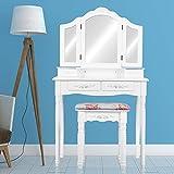 Schminktisch Kosmetiktisch Frisierkommode weiß Frisiertisch Make up Tisch mit 3 Schmink Spiegel + Hocker Vintage