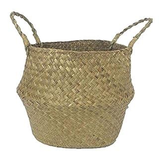 XIYAO Plant Flower Basket Straw Basket Garden Pots Planters Storage Seagrass Bag