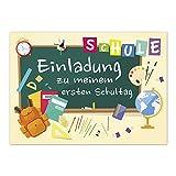 12 Einladungskarten Einschulung mit Umschlag/Bunte Tafel/Einladung 1. Schultag in der Schule/2-seitige Karte