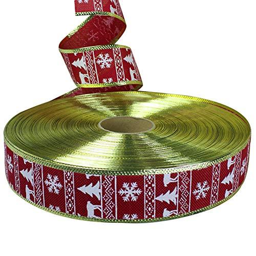 ddellk 1pc Christmas Ribbon Reel, Cintas de Tema de Navidad, Regalo Colorido, cinturón, decoración de Fiesta para el hogar (200 cm)