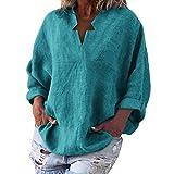 Oliviavan Ete Printemps Fleurie Imprimée Couleur Femme Lin Sexy Chemisier Coton Top Chic Grande Taille Haut Manche Longue Col Debout Pull Shirt en Vrac Décontractée Robe Fluide T-Shirt Noir Tissu