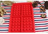 RICISUNG Bakeware High Quality Silicone Waffle Baking Molds Mini Heart Waffle Mold Muffin Mold, Red