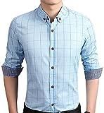 AIYINO Herren Casual Hemd Slim Fit Langarm Shirts Freizeit Baumwolle 5 Farben Größen XS-XL (X-Large, Hellblue)