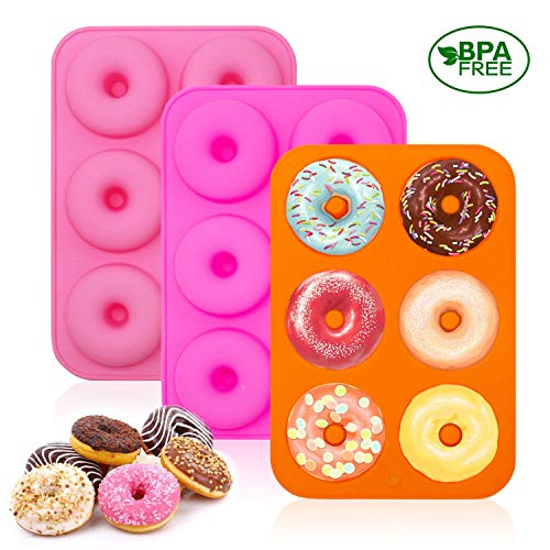 U&X Silikon Donutform Donut Backform stücks Orange, Rose, Pink,6 Hohlraum Antihaft Blatt Behälter Macht perfekte 3 Zoll Donuts