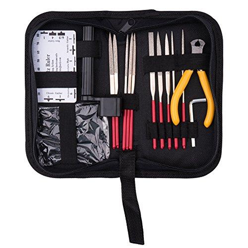 CCMART Kit de reparación de guitarra, juego de 15 piezas de herramientas de mantenimiento de guitarra con aguja de guitarra archivador/regla de acción de cuerda/rodillo de cuerdas y cortador/llave de guitarra para guitarra, ukelele, bajo, instrumentos de cuerdas